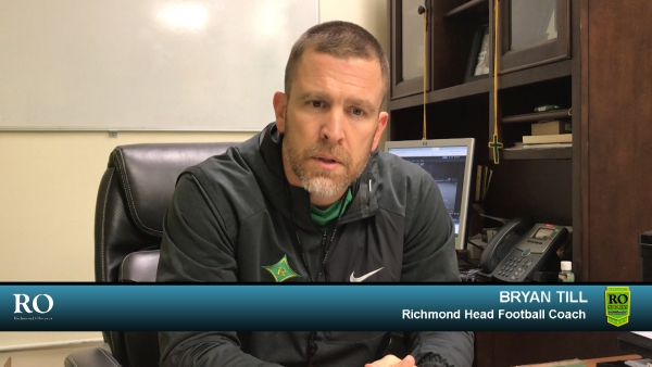 Head coach Bryan Till addresses this Friday's third-round game between Richmond and Myers Park.