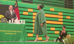 Tiniqua Mykhalia Brown takes the stage during Monday afternoon's virtual graduation at Richmond Senior High School. See a video below the story.