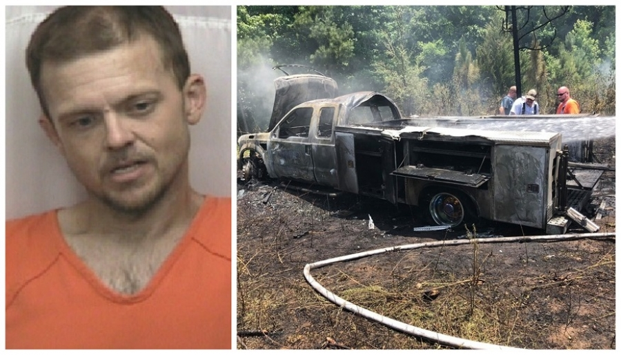 Anthony Eugene Clark, 36, is accused of breaking into the Richmond County Rescue Squad base on Rockingham Road on June 30 and stealing a rescue truck, which was later found burned in Anson County.