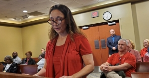 Kristi Newton-Maines, a former volunteer at the Richmond County Animal Shelter, address county commissioners Tuesday night with allegations of misconduct and abuse she said she witnessed.
