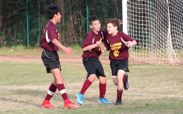 Ellerbe's Sam Thompson (right) celebrates after scoring a goal against Cordova on Wednesday.