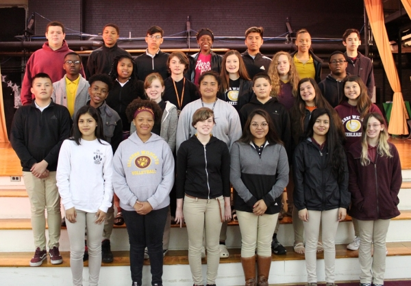 8th Grade A Honor Roll. Front: Rebeca Avalos, Kadia Rucker, Riley King, Jocelyn Mercado, Guadalupe Juarez and Eveie Futrell. Second row: Bryan Juarez Zapata, Elijah McLean, Charity Morrison, Yuliana Gonzalez, Ethan Locklear, Kailey McInnis and Cadence Thompson. Third row: Sylvester Harding, Tamia Capel, Carley Shepard, Ashlyn Bouldin, Kimbrly Quick, Diezel Green. Fourth row: Hayden Lee, Emoni McBride, Bryan Morales, Nyla Stroman, Kevin Dominguez, Akeya Harrison and Curtis Reams.