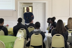 Kwain Bryant discusses character traits of leaders during a Youth Leadership Summit on March 14.