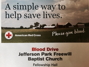Jefferson Park Free Will Baptist Church Holds Blood Drive; Collections to Benefit Harvey Victims