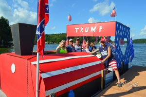 "The ""Trump Train"" boat, owned by Ricky and Monica Moore was picked as the best decorated at Saturday's Trumptilla 2.0."
