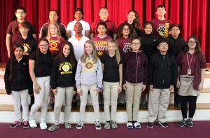 Sixth-grade students are, from left: Front - Leslie Reyes, Breanna Smith, Mikayla English, Payton Powell, Ally Russell, Samantha Chapman, Randall Ramirez, Kayla Chabot. Second row - Garret Mabe, Charlotte Morrison, Joaquain Jackson, Ayden Locklear, Dylan Santiago, Maddie Maree, Jason Perez Zapata. Third row, Jaden Oliver, Mariana Estrada, Symone Terry, Gavin Applewhite, Ava Thompson, Alexander Bahneman. (Not pictured, Mia Green, Sarah Meacham.)