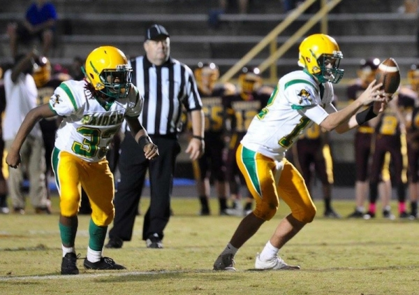 Richmond Observer File Photo: sophomore running back LaCyruss Ellerbe (left) and sophomore quarterback Noah Altman were instrumental in Thursday's 44-8 win over Seventy-First.