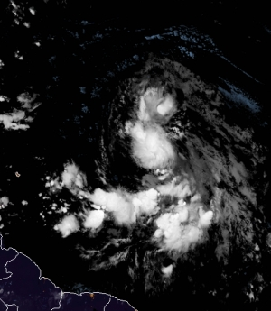 Satellite images on Thursday, Aug. 20, 2020, showed Tropical Depression 13 over the Atlantic.