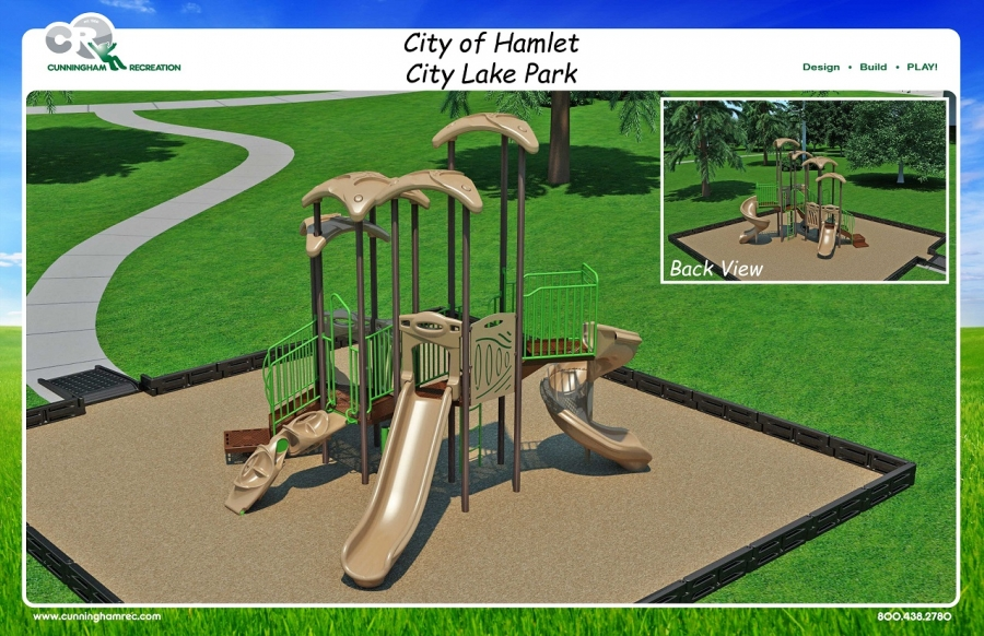 This graphic shows a proposed playground for Hamlet City Lake that will be paid for through a recreation grant.