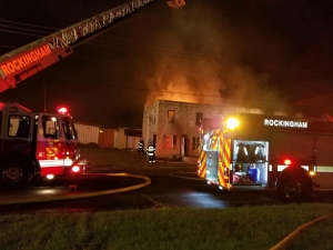 The building that caught fire is on McNair St, just off Hwy 74 west of Rockingham in the Five Points area.