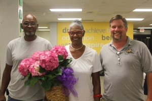 Edna Stancil was awarded for being the driver with the most years. Stancil has been a bus driver for Mineral Springs School for 40 years. She was awarded a certificate and flowers.