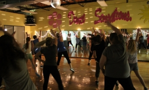 Participants boogie down and get their heart rates up in a Dance Cardio class taught by Mary Kate Lambeth.