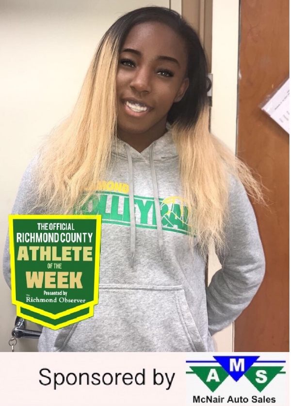 Sophomore point guard Allexis Swiney has been named the Official Richmond County Female Athlete of the Week.
