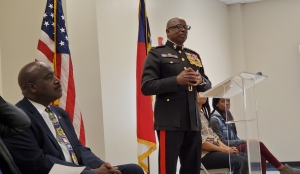 Retired Lt. Gen. Walter Gaskin spoke to the crowd at Dobbins Heights' annual Veterans Day ceremony Monday. Gaskin is one of six African Americans to make the rank of lieutenant general in the Marine Corps.