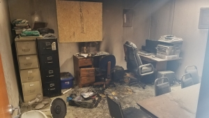 The finance office of Ashley Chapel A.M.E. Zion church caught fire in the early morning hours Wednesday after something was apparently thrown through a window. The cause of the fire is still under investigation.