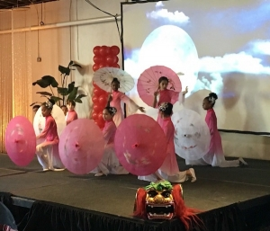 Students from East Voyager Academy in Charlotte perform a traditional Chinese dance for attendees at the Raleigh school choice rally in celebration of National School Choice Week.