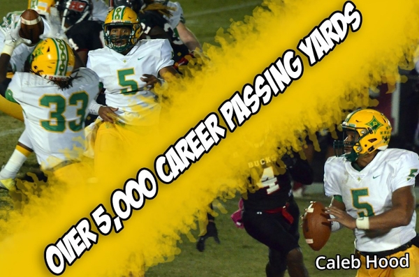 Junior quarterback Caleb Hood eclipsed the 5,000 passing yard mark this season and is the Raiders' all-time passing yards leader.