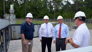 Duke Energy District Manager for Government and Community Relations David McNeill visited Richmond Community College recently to meet with Dr. Dale McInnis, College president, and two instructors, Brian Terry and Mark Terry, to tour the newly equipped substation and touch base about the growth of the Electric Utility Substation and Relay Technology program. Pictured, from left, are Rhyne, McInnis, McNeill and Terry.