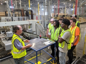 Richmond Community College students get a first-hand look of the operations of American Woodmark during a recent tour of the Hamlet plant.