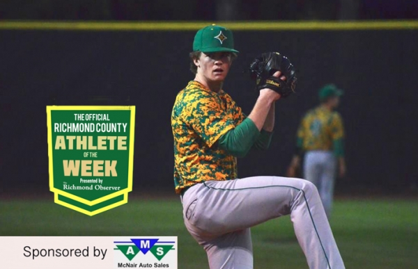 Jonathan Lee has been named The Official Richmond County Male Athlete of the Week for his pitching and hitting performance against Pinecrest.