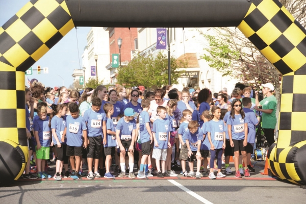 Students line up prior to the start of last year's Run for the Ribbons 5K in downtown Rockingham. This year's race is on April 13.