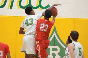 Sophomore Dalton Stroman (43) had 10 points and 13 rebounds in Richmond's win over Seventy-First.