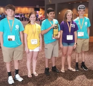 Carson Dixon, Carly Leggett, Giovani Gomez, Christi Jacobs and Tyler Berry placed third in technology at the Beta Club National Junior Convention in Oklahoma City, Oklahoma, this week.