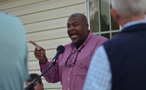 Mark Robinson, candidate for lieutenant governor, speaks at a fundraising event for Ben Moss on Tuesday.