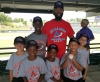 Anthony Hailey (red) and some of his All-S.T.A.R. campers at a Winston-Salem Dash game last summer.