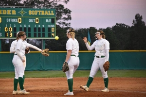 The Lady Raiders used seven extra base hits to hold off Jack Britt in Tuesday's SAC showdown.