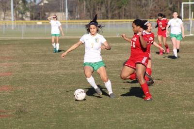 Senior Deanna Gomez (7) was one of six Lady Raiders to score in Friday's win at Seventy-First.
