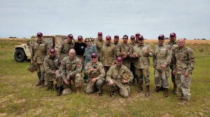 Richmond Senior Army JROTC instructor retired Lt. Col. Jon Ring is part of the Liberty Jump Team which will participate in events commemorating the 75th anniversary of D-Day during World War II. The team is pictured after participating recently in the 82nd Airborne Division's All-American Week jump on Sicily Drop Zone at Fort Bragg.