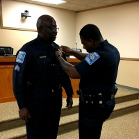Sgt. Bill Williams was sworn in last week with the Hamlet Police Department.