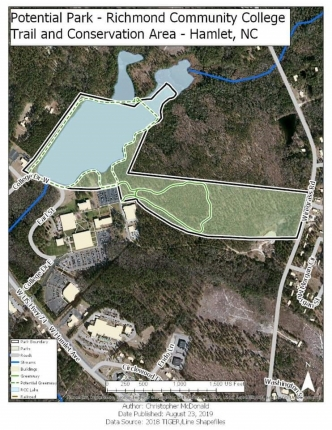 This map shows a potential park at Richmond Community College proposed by Chris McDonald.