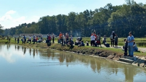 Participants fishing during last year's Greenwing Fishing Derby.