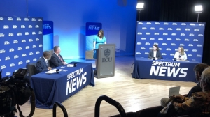 Rural health care was the topic of the Hometown Debate in Greenville Tuesday, Oct. 8. From left are Sen. Don Davis, D-Pitt; Sen. Jim Perry, R-Lenoir; moderator Loretta Boniti of Spectrum News; Dr. Chelley Alexander of the Brody School of Medicine; and Tina Gordon of the N.C. Nurses Association.