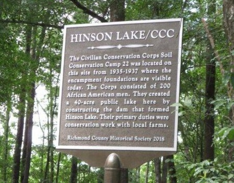 One of two plaques recently erected by the Richmond County Historical Society recognizes the contribution of the Civilian Conservation Corps and the work at Hinson Lake in Rockingham. The other honors former N.C. Supreme Court Justice Henry Frye in his hometown of Ellerbe.