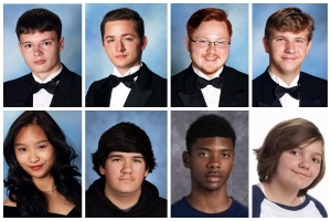 Eight recent graduates are part of the Summer Surge of military recruits. Top: Christian Barrett, Jordan Ballow, Blake Cherry and Karl Dietrich. Bottom row: Huong Kim Phan, Timothy Buie, Zachariah Hamilton and Alyson Walton.