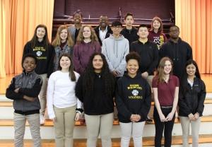 Eighth-graders make A Honor Roll. Front: Elijah McLean, Cadence Thompson, Yuliana Gonzalez, Kadia Rucker, Riley King, Guadalupe Juarez Jimenez. Second row: Ashlyn Bouldin, Charity Morrison, Kimbrly Quick, Bryan Morales, Bryan Juarez Zapata, Diezel Green. Third row: Nyla Stroman, Sylvester Harding, Curtis Reams, Carley Shepard. Not pictured: Kevin Dominguez, Ethan Locklear.