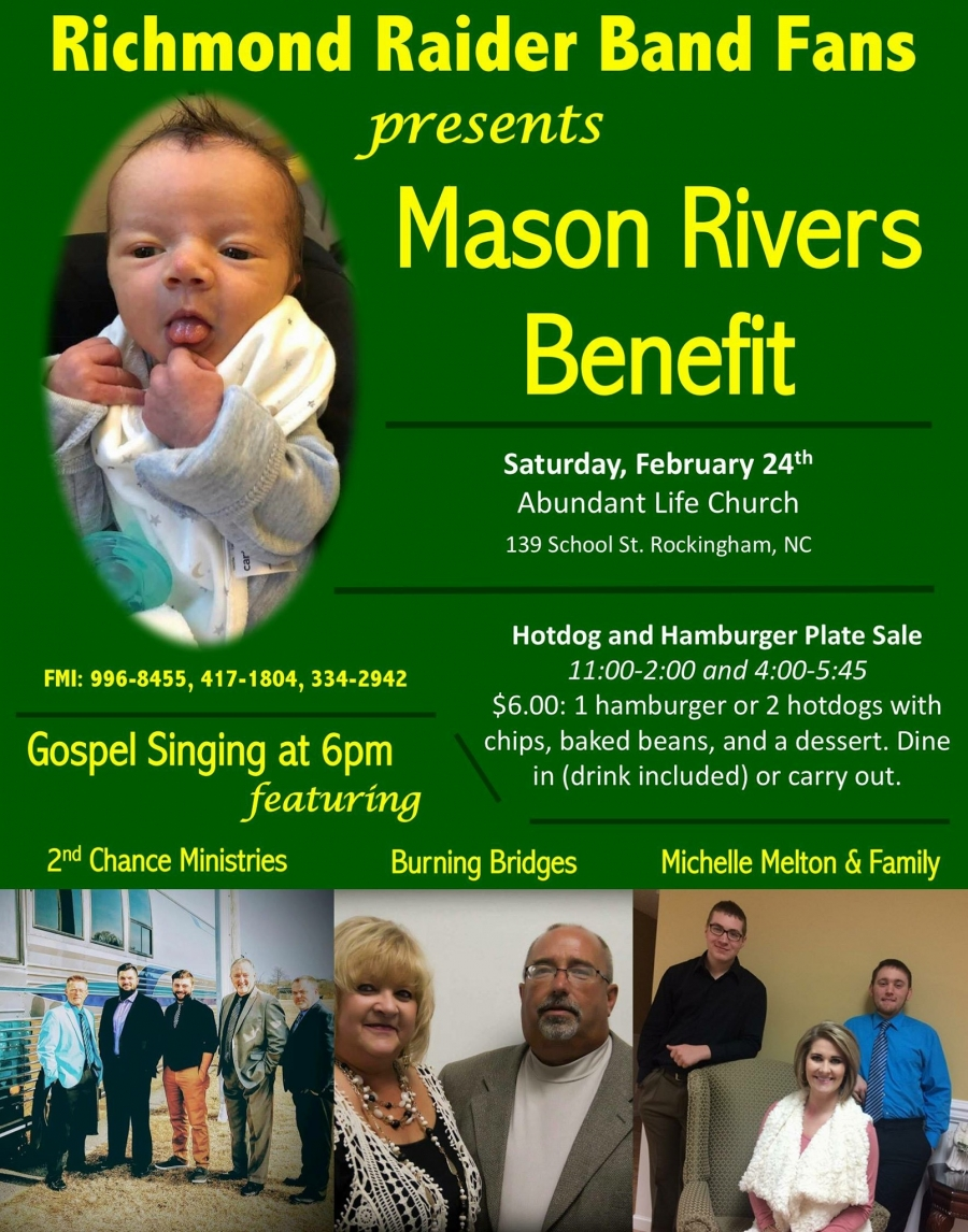The Mason Rivers Benefit will be held on Saturday, February 24 to raise money for Mason Rivers and his family.