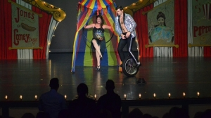 Neil Robinette enters the stage on a unicycle for he and wife Catherine's Michael Jackson-inspired routine at the fourth annual Richmond County Hospice Dancing with the Stars on Saturday. The Robinettes won the People's Choice Award. See the Richmond Observer's Facebook page for more photos from the event.