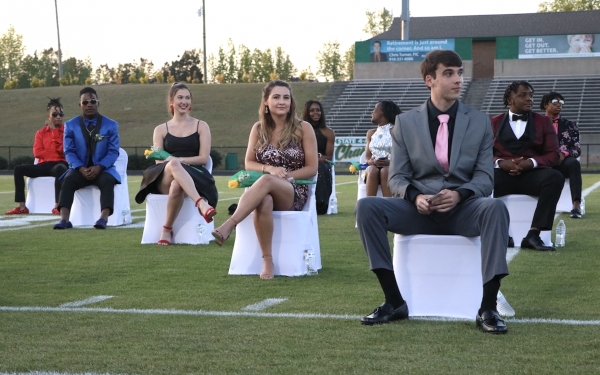 Members of the 2021 homecoming court during Thursday's pep rally at Raider Stadium.