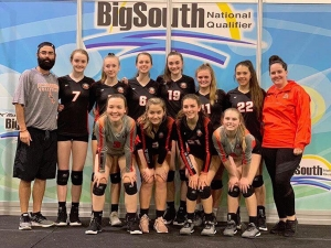 Georgia Grace Anderson (6) and Emy Cooley (far right, front row) opened their AAU season in Spartanburg over the weekend.