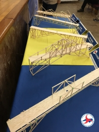 Model wooden bridges are displayed March 15 during the regional competition at the NCDOT headquarters auditorium in Raleigh.