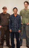 Pictured are the top three welding students at Richmond Community College, according to a friendly welding competition held at the end of the semester. First place went to Rain Newman (center), second place Edward Butler (left) and third place Cutter Eaves (right).