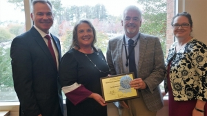 Pictured left to right:  Christopher C. Dobbins, chair, N.C. Local Health Department Accreditation Board; Nancy Porter, Richmond County health education supervisor/co-accreditation coordinator; Dr. Tommy Jarrell, Richmond County human services director; and Amy Belflower Thomas, accreditation administrator