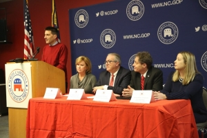 N.C. Republican Party Executive Director Dallas Woodhouse, at lectern, was joined at a Monday news conference by local 9th District GOP officials (from left) Susan Mills, Dan Barry, Phillip Stephens, and Sarah Reidy-Jones.