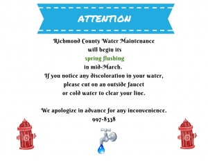 Richmond County Water Department Announces Spring Flushing