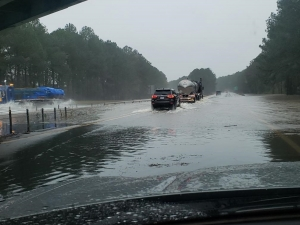 I-95 is topped with rainwaterThursday at mile marker 118 in Wilson County.