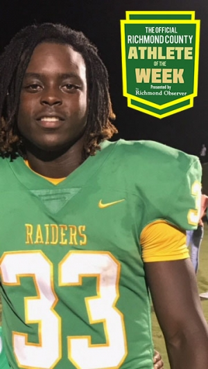Jaheim Covington, Raiders running back, is this week's Official Male Richmond County Athlete of the Week.